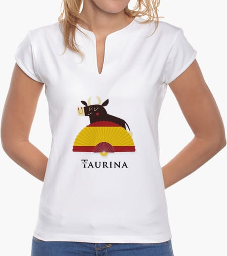 Camiseta Soy Taurina con Toro y abanico con la bandera de España