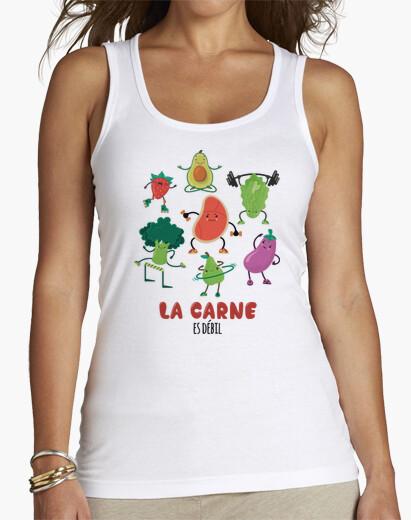 """Camiseta de mujer sin mangas  con el lema vegano - vegetariano """"la carne es débil"""""""