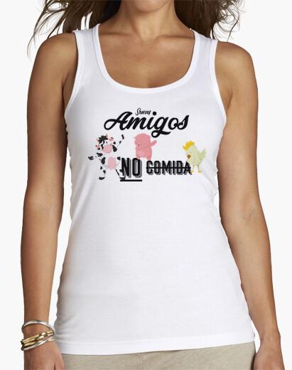 """Camiseta de chica con tirantes y la imagen de tres animales haciendo el dab junto al mensaje """"Somos amigos no comida"""""""